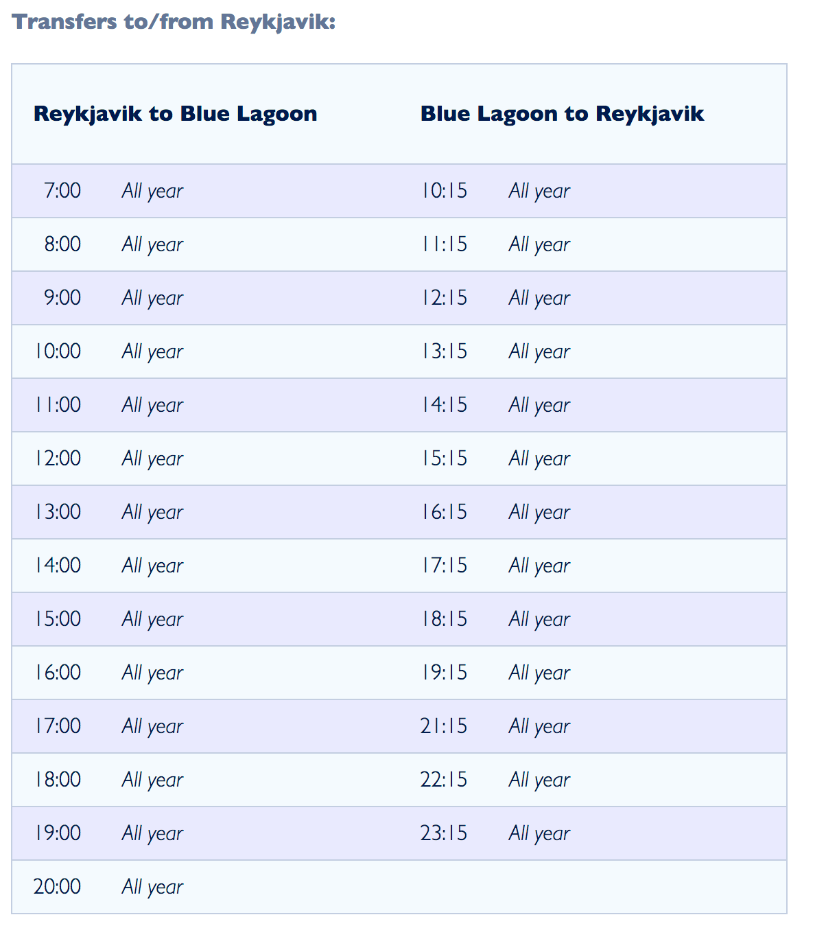 冰島藍湖穿梭巴士時間表