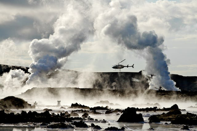 Flying in a helicopter is the best way to fully experience the geothermal landscapes of Iceland.