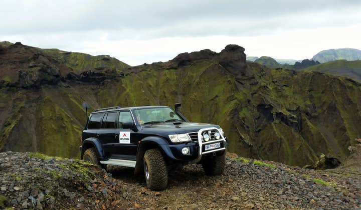A Super Jeep is the perfect vehicle to conquer the mountains surrounding Vík.