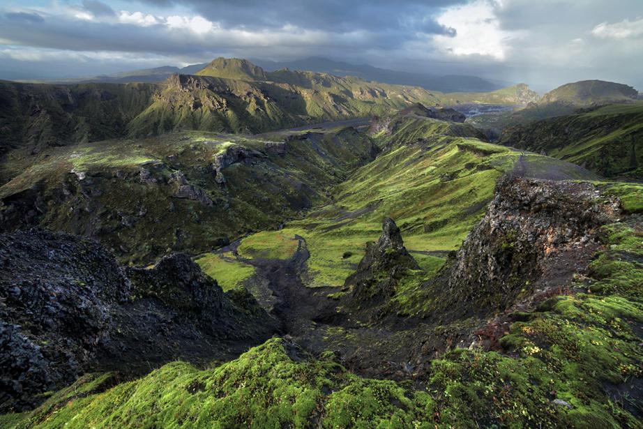 Þórsmörk is a lush and stunning valley in South Iceland, cut by the glacier river Krossá.