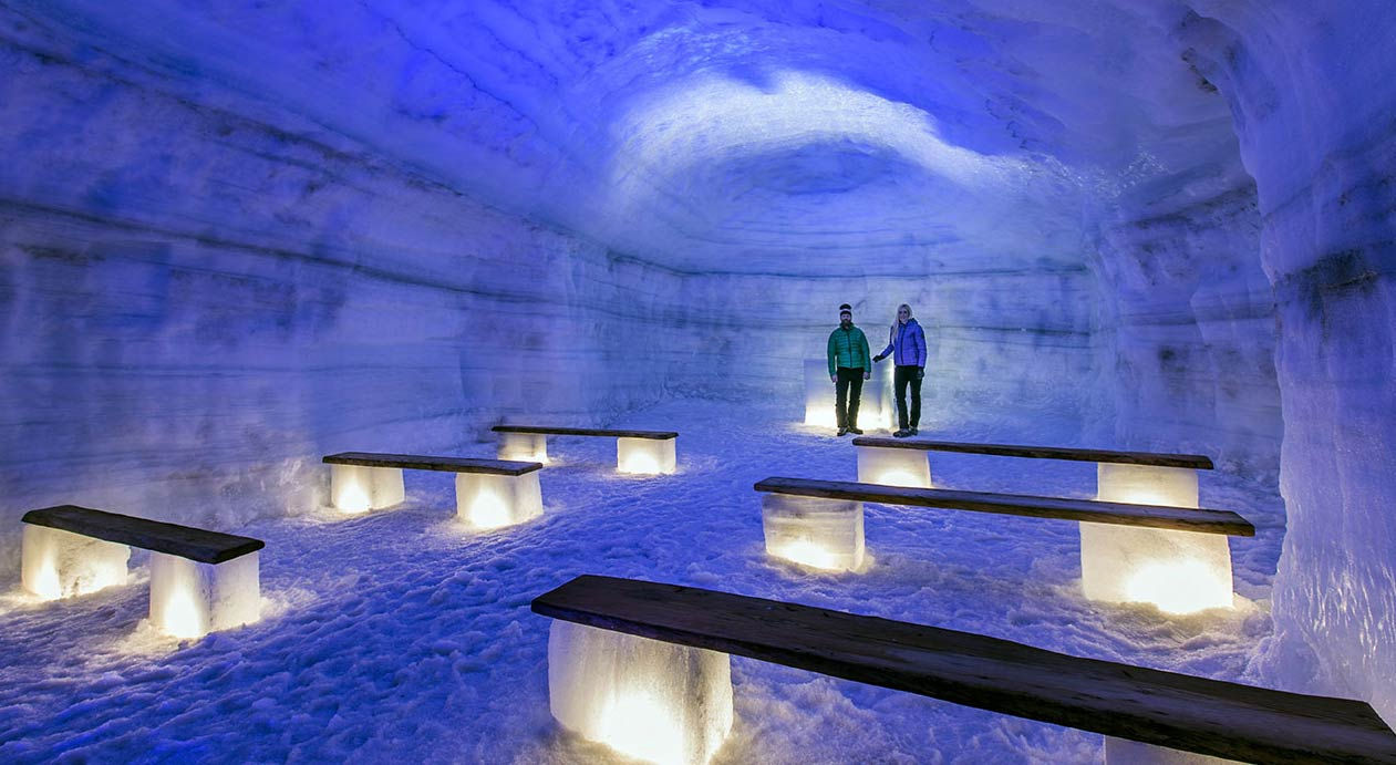 The chapel is one of the highlights of the Ice Tunnel that has been carved into the summit of Langjökull glacier.