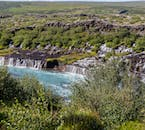 Hraunfossar in West Iceland is actually a series of many tiny waterfalls.
