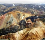An aerial perspective over the lovely hillsides of Landmannalaugar.