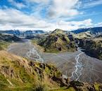 アイスランド南部のソゥルスモルク渓谷で素晴らしい景色が見渡せる