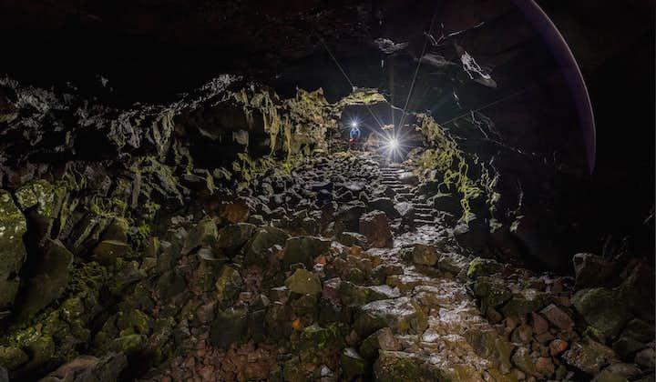 A path takes you safely through the interior of Raufarhólshellir cave.