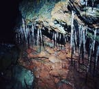 Some of the many icicles that bejewel Raufarhólshellir cave.