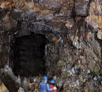 Many of the walls in Raufarhólshellir cave can be found covered in a sheet of ice.