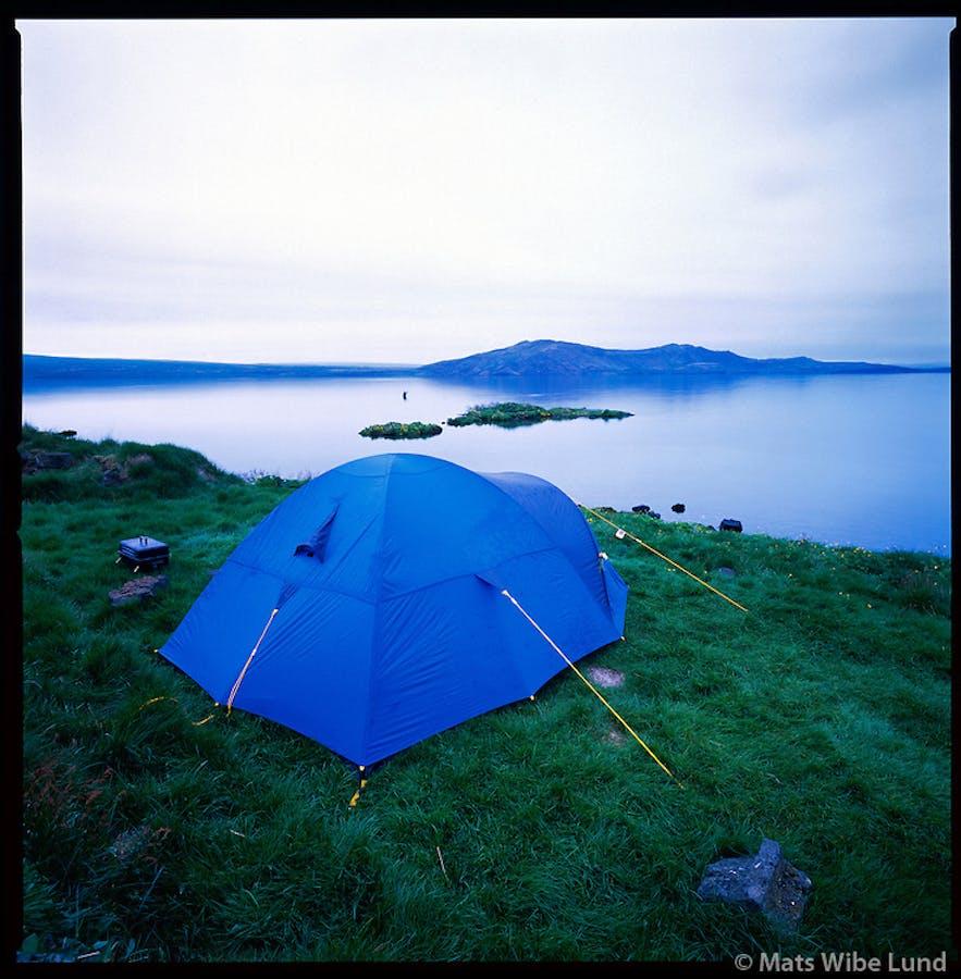 Midnight camping in Þingvellir National Park in June