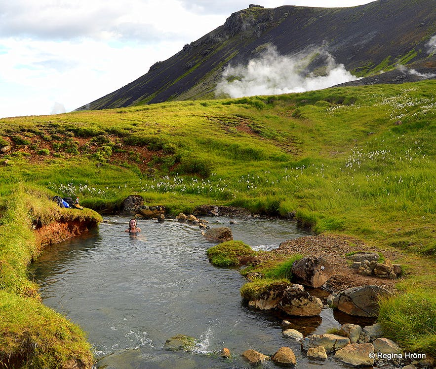 Reykjadalur Valley - Bathe in a Hot River in South Iceland! Regína soaking in the river