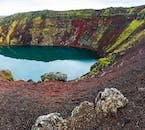 Visiting the crater lake Kerið is a convenient stop when traversing the Golden Circle sightseeing route in South Iceland.