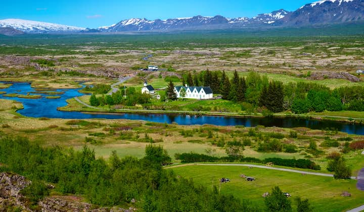 Þingvellir, as seen from the popular viewpoint on the North American plate.