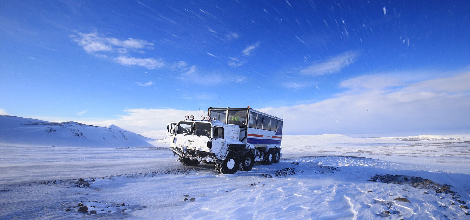 When venturing up Langjökull glacier to enter its Ice Tunnel, you need to get there in the proper vehicle.