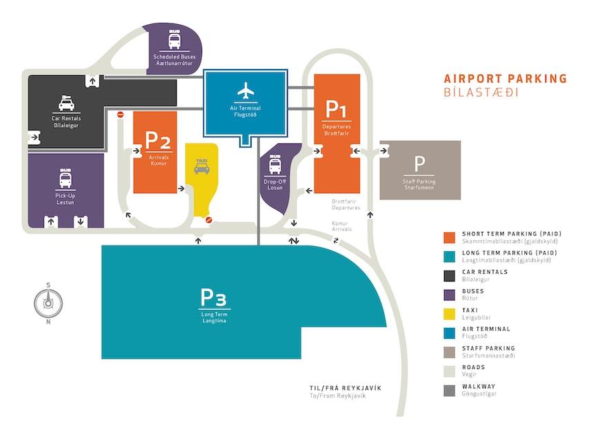 ケプラビーク空港の駐車場