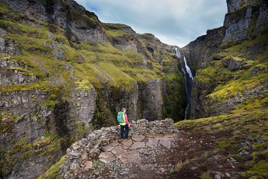 Glymur waterfall in Hvalfjordur fjord