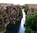 The great Almannagjá Gorge marks the crest of where the Mid-Atlantic Ridge cuts through the country of Iceland.