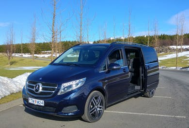 Golden Circle Private and Personalised Sightseeing Tour in a new Mercedes Benz V-class luxury miniva