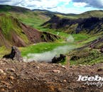 The colours of south Iceland's Reykjadalur valley are intense, vibrant and contrasting in the summer months.