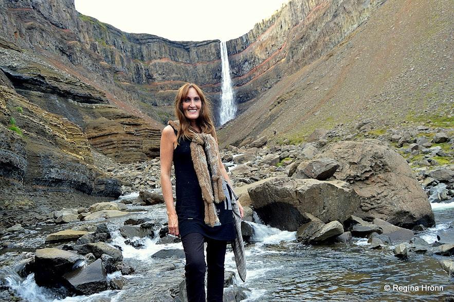 Regína by Hengifoss waterfall