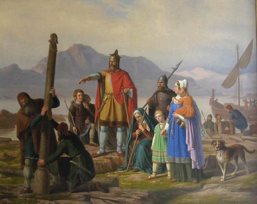 A depiction of Ingólfur Arnason founding Reykjavík with his wife and slaves.