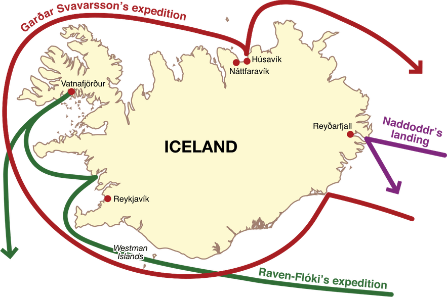 This map depicts the exploration of the first Norsemen to Iceland.