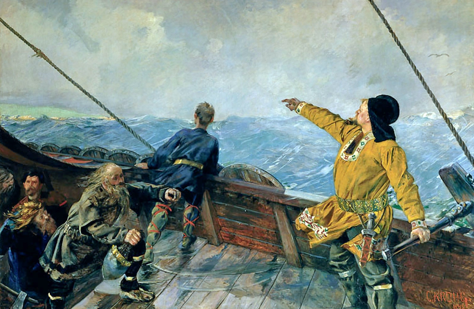 An artist's depiction of Leif's travels.