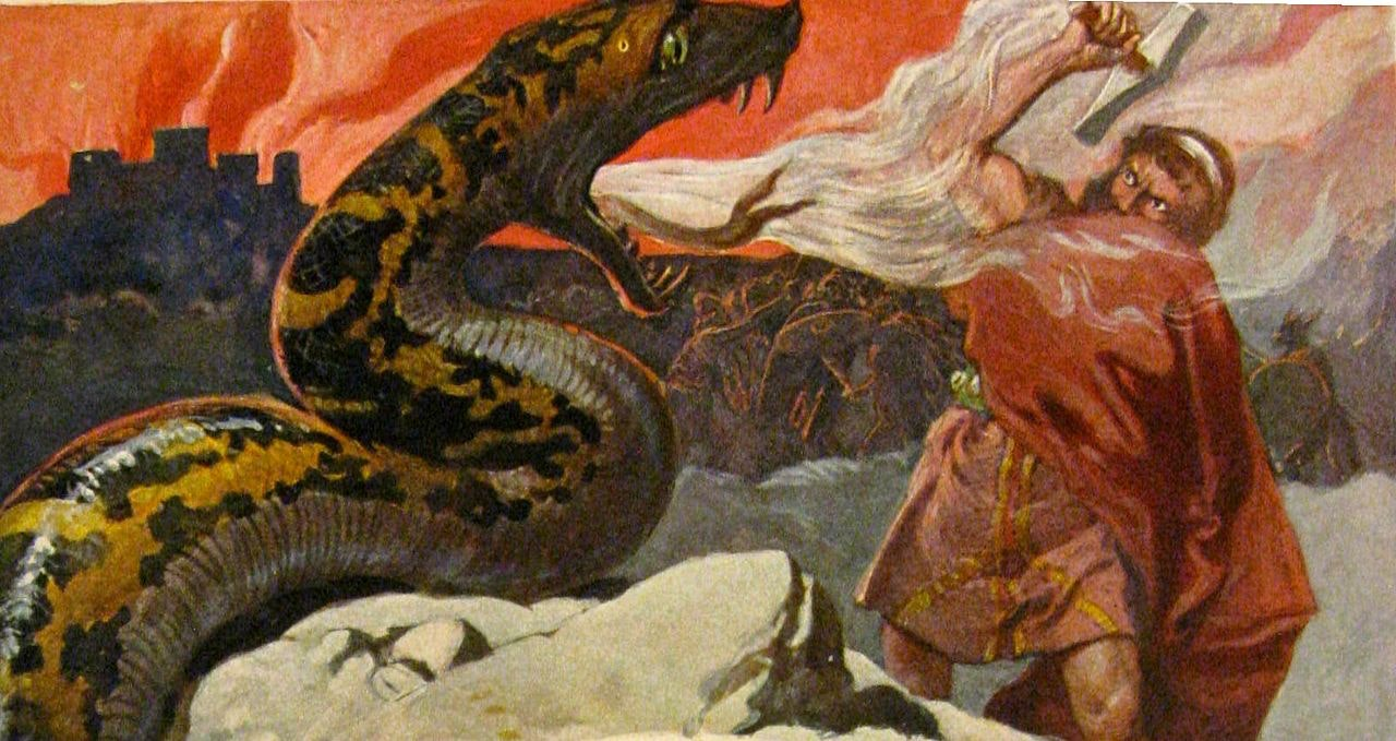 A depiction of Ragnarök, the end times foretold by Edda; here, Thor fights his last battle against one of Loki's evil children, the Midgard Serpent