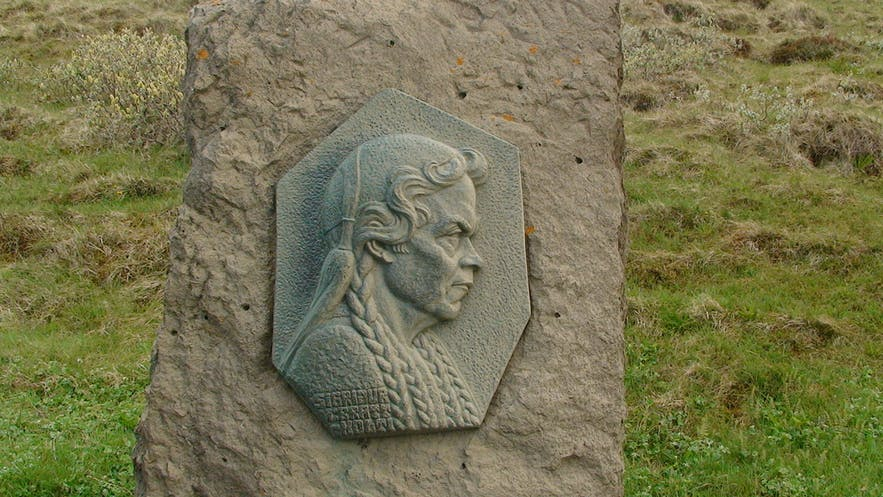 This relief statue at Gullfoss shows you the face of the woman who helped to save it, Sigríður Tómasdottir.