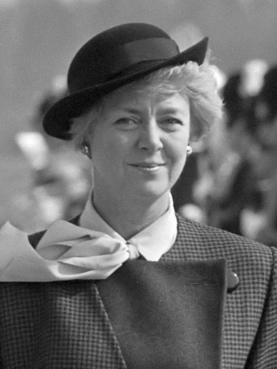 Vigdís was the world's first democratically elected female president; she is pictured here five years into her sixteen year posting.