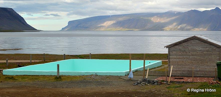 Reykjafjarðarlaug geothermal pool in Reykjafjörður fjord in the Westfjords of Iceland