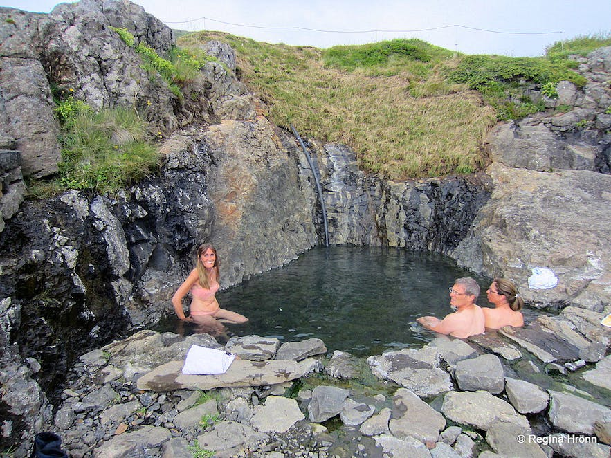 Hellulaug geothermal pool in Vatnsfjörður fjord in the Westfjords of Iceland