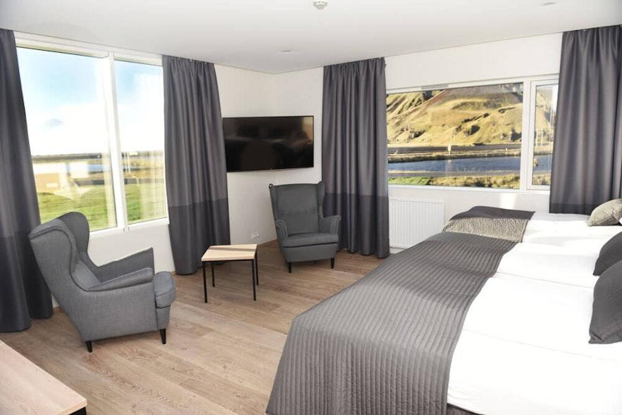 Chambre triple à l'hôtel Katla dans le sud de l'Islande