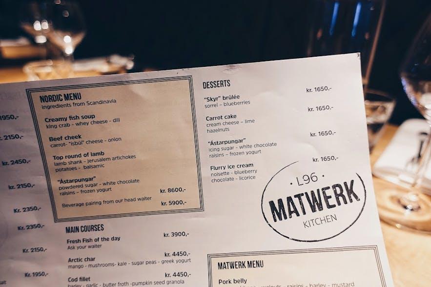 Menu at Matwerk restaurant in Reykjavik