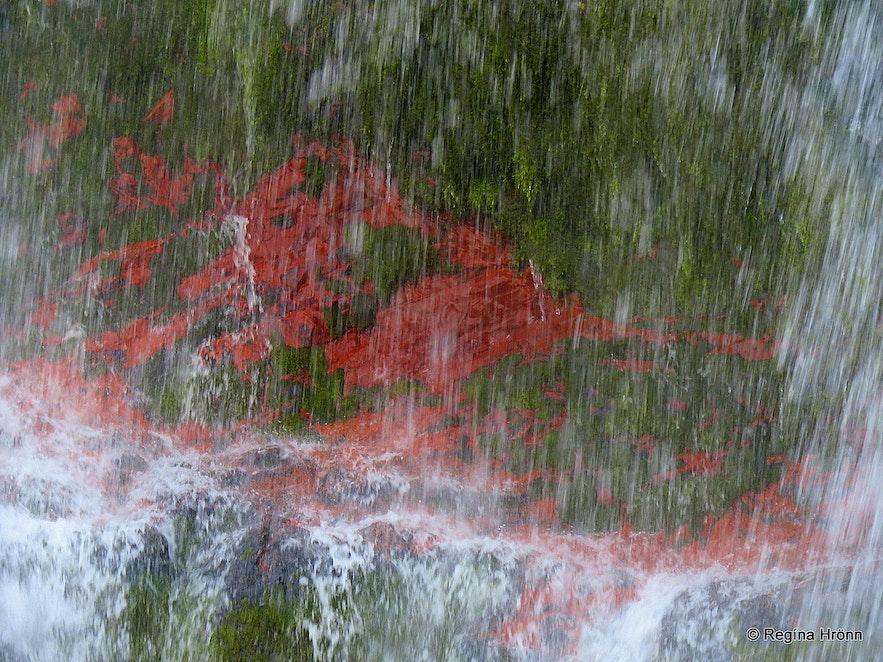 Red rock in Dynjandi waterfall