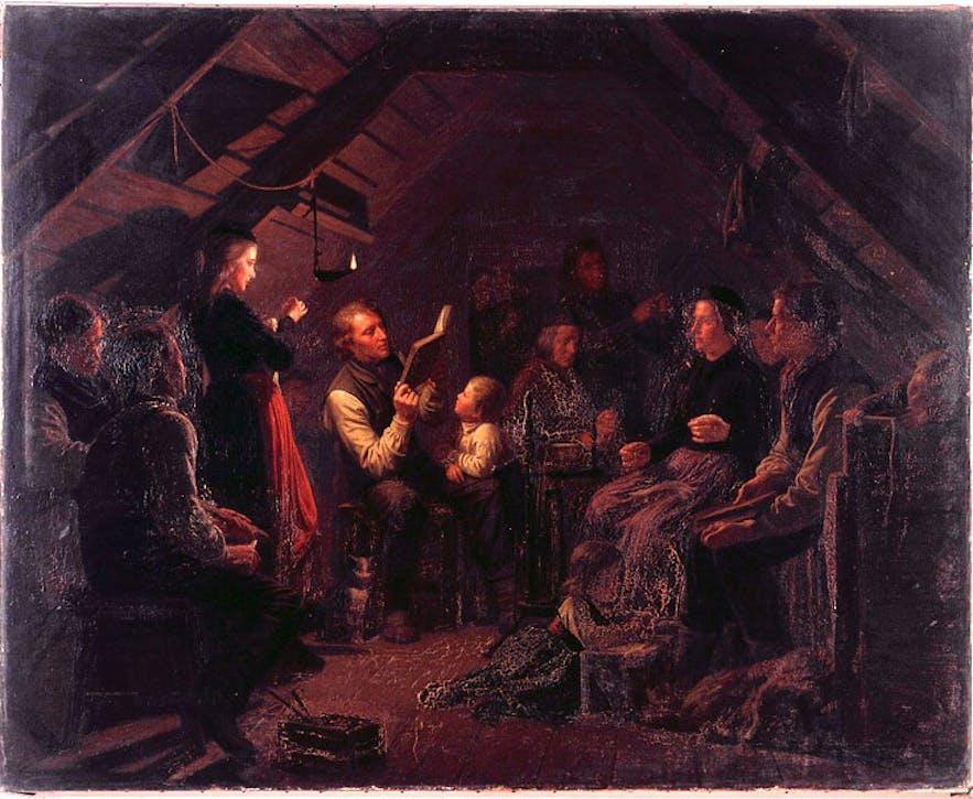 在濒临极夜的冬季,冰岛人在黑暗的房间中读书消遣