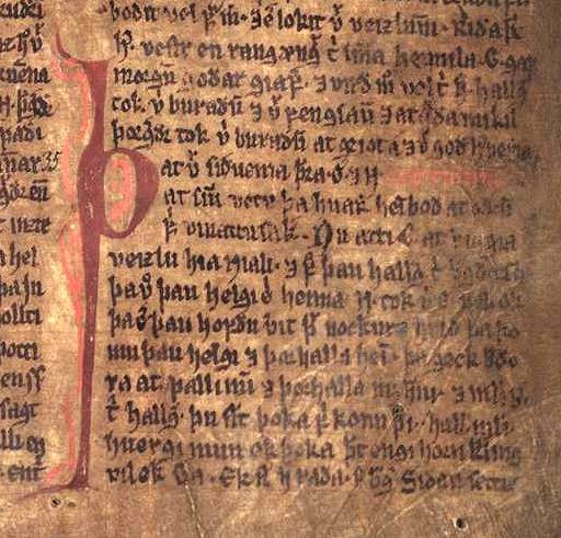 A page from the ancient Möðruvallarbók, which contains the epic Njáls Saga.