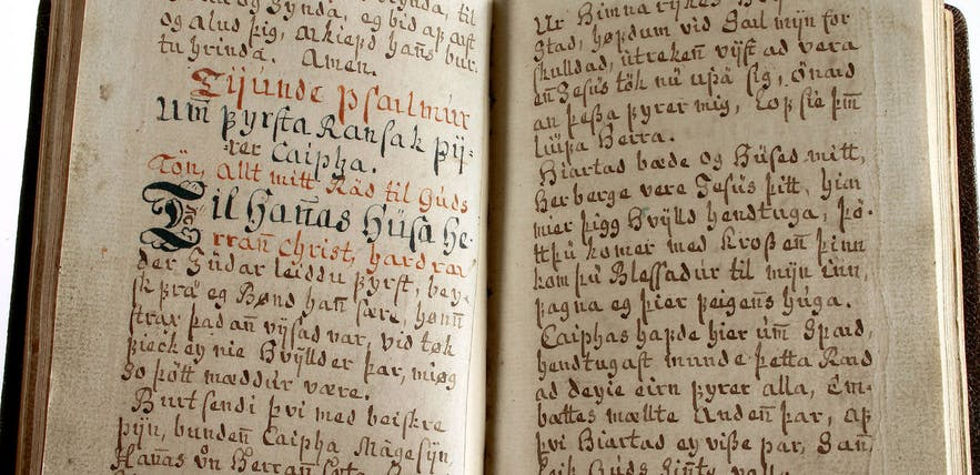 An old manuscript on display in the Culture House.