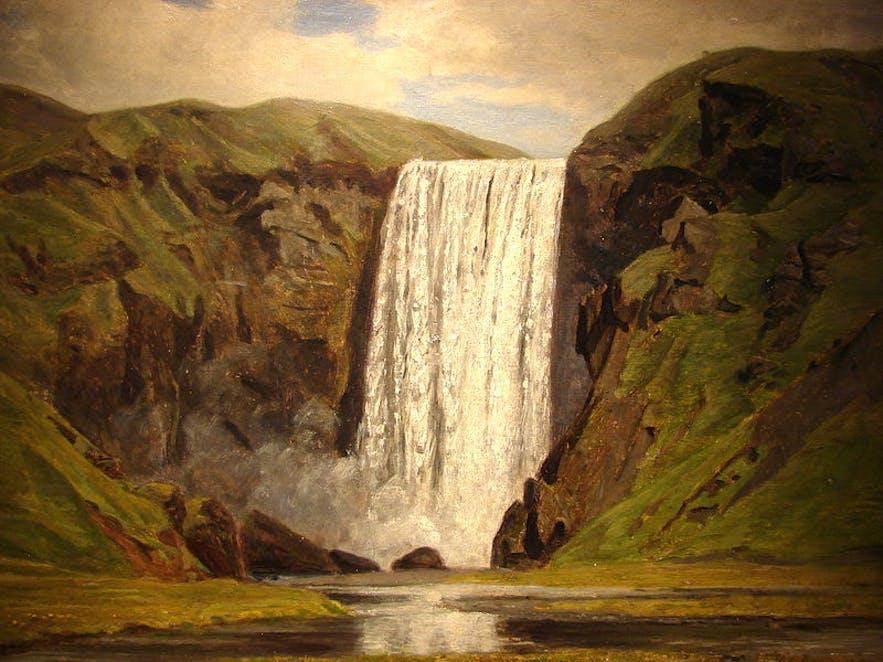 Skógarfoss by August Schiott.