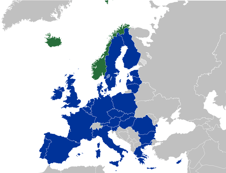 This map shows countries belonging to the EEA and EFTA.