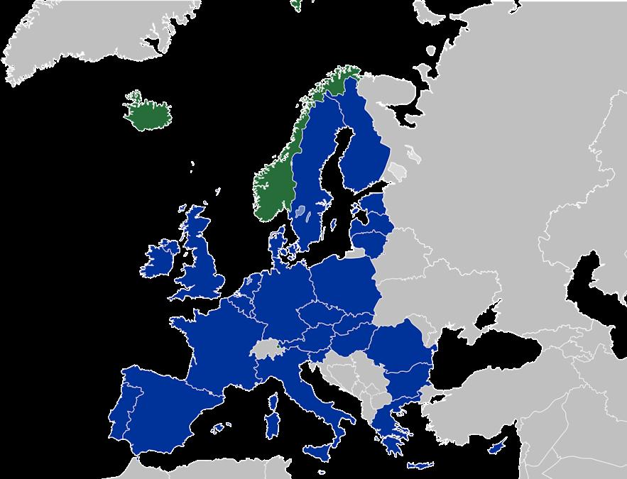 EEA, EFTA 소속 국가 지도
