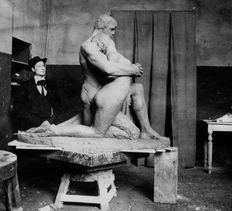Einar Jónsson with his sculpture, Man and Woman, in Rome, 1902