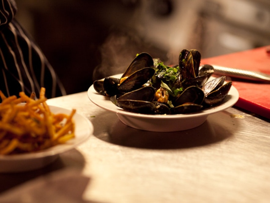 Moules mariniére in restaurant Snaps in Reykjavík