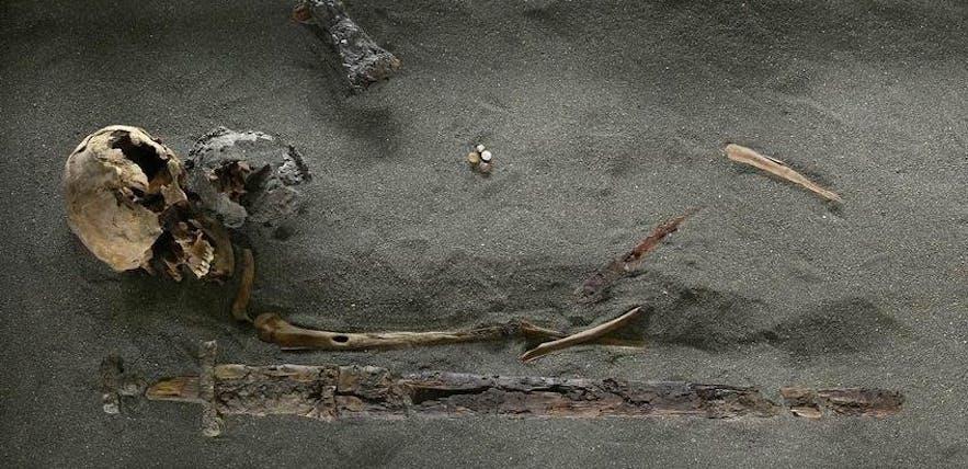 Une vieille tombe Viking exposé au musée national d'Islande