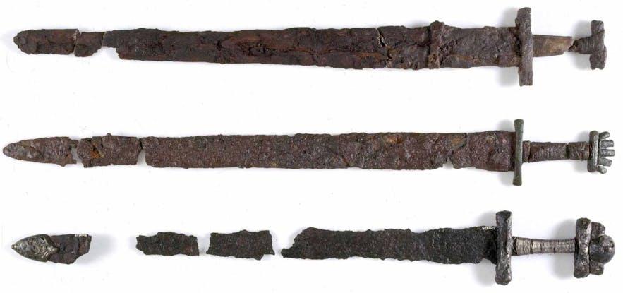 아이슬란드 국립 박물관에 전시된 바이킹 시대의 칼
