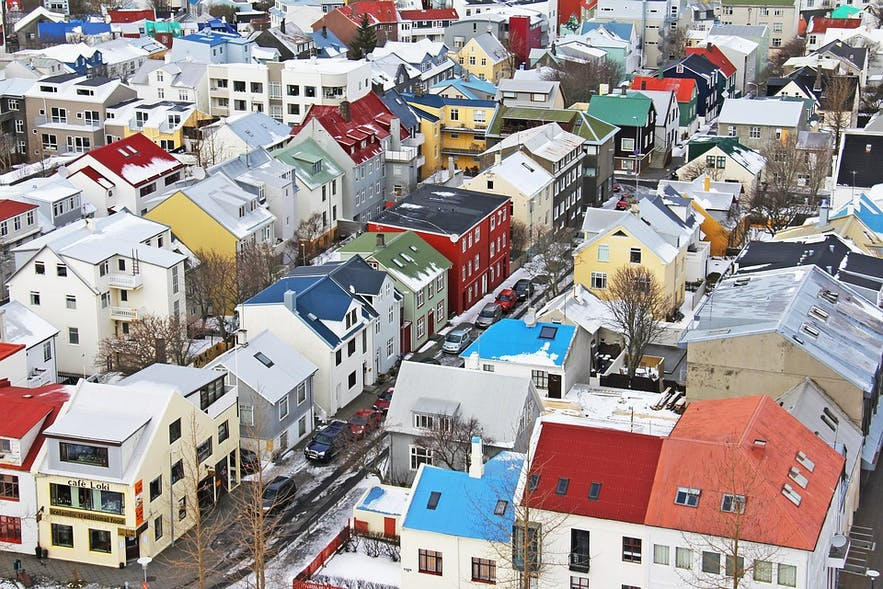 The multi-coloured rooftops of Reykjavik.
