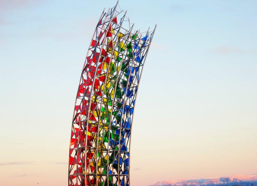 'The Rainbow' Art piece at Keflavik airport,