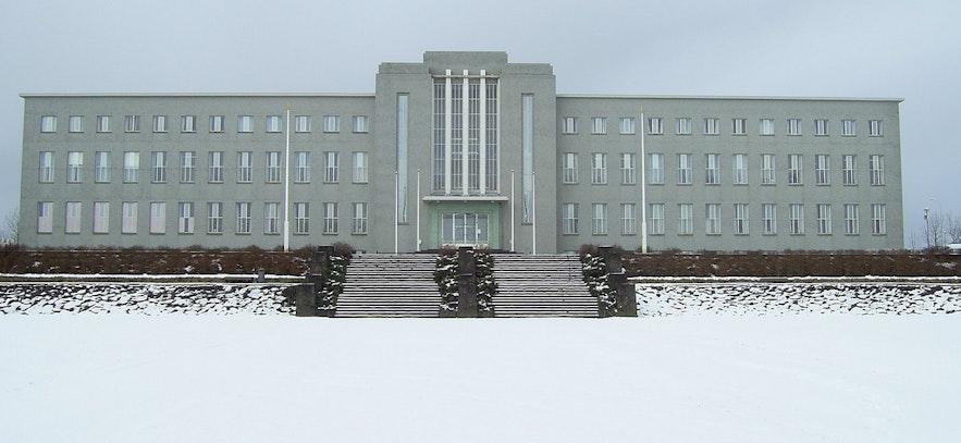 겨울철 아이슬란드 국립 대학의 모습