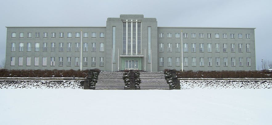 The University of Iceland during the winter.
