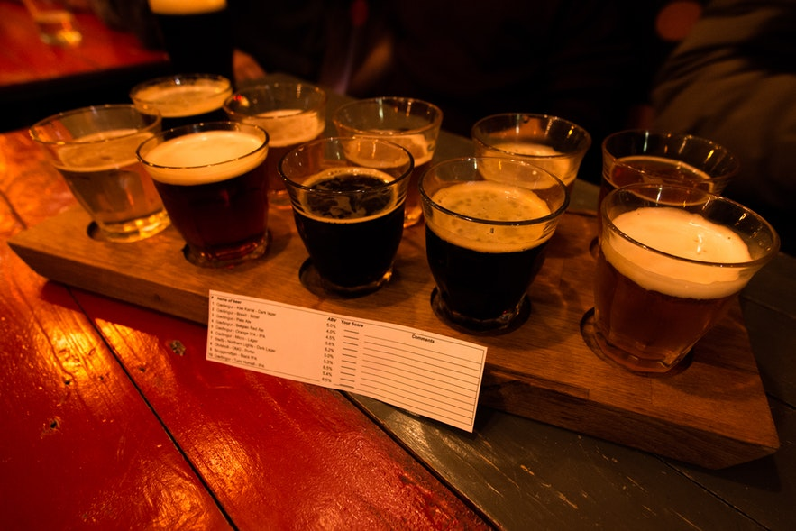 A MicroBar taster tray, offering you the chance to explore all the different types of brew on offer.