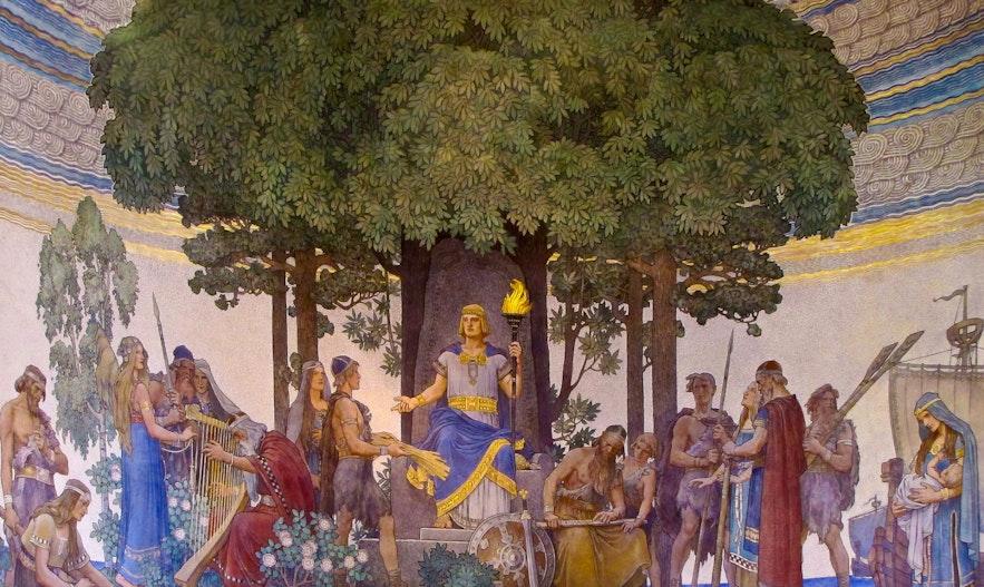 헤임달이 신의 선물을 인간에게 전해주는 장면을 그린 닐스 아스플룬드(Nils Asplund)의 작품(1907).