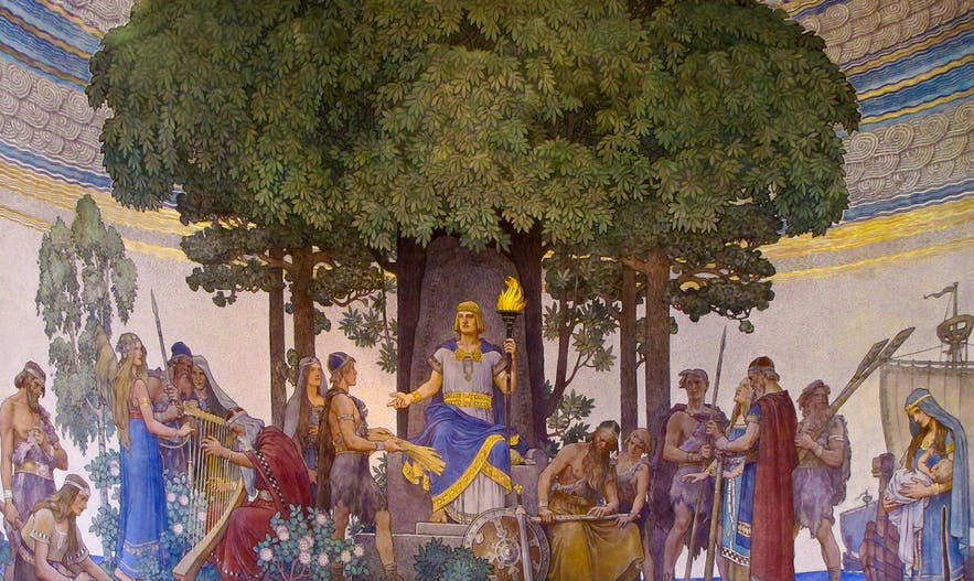 Heimdallr bringing the gifts of the Gods to mankind. Painting by Nils Asplund (1907).